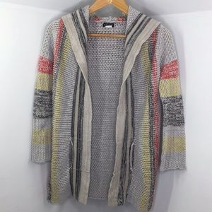 Venus cotton knit striped beach open hood cardigan